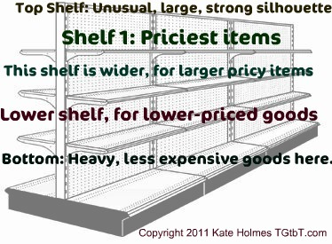 Arranging smalls in a thrift shop shelving unit, by Kate Holmes of TGtbT.com